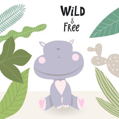 Kreskówka hipopotam ilustracja ładny. Dziki i wolny