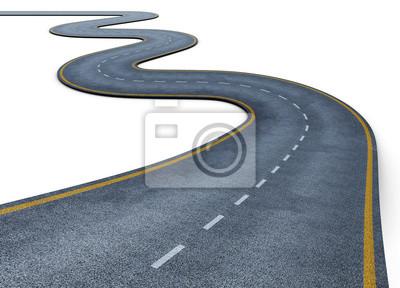 Obraz Kręta droga na białym tle. Znikające w oddali. Droga dwupasmowa z oznaczeń pasa ruchu. Konceptualnych. 3d renderowania