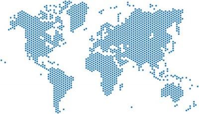 Obraz Kropki mapa świata na białym tle, ilustracji wektorowych.
