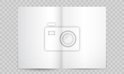 Obraz Książka lub czasopismo otwierają puste strony. Wektor na białym tle 3D pionowy katalog broszury lub makieta broszury A4 z pustych stron