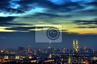 Kuala Lumpur widok o świcie, Malezja Capital City.