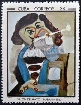 Obraz KUBA - OKOŁO 1968: Stempel drukowane w Kubie commemorative do Salonu maja 1967 roku, pokazuje człowieka z rury przez Pablo Picasso, circa 1968