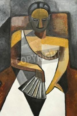 Obraz kubizm malarstwo olejne kobiety z białej sukni siedzi na krześle