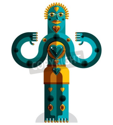 Obraz Kubizm tematem grafika ilustracja, modernistyczny symbolem. Geometryczne postać z kreskówek, mityczny stwór lub szamanem. Kolorowy rysunek pogańskiego bożka.