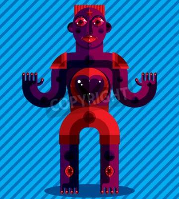 Obraz Kubizm tematem grafika ilustracja, modernistyczny symbolem. Geometryczne postać z kreskówek, mityczny stwór lub szamanem. Kolorowy rysunek pogańskiego bożka. Medytacja i relaksacja tematem.