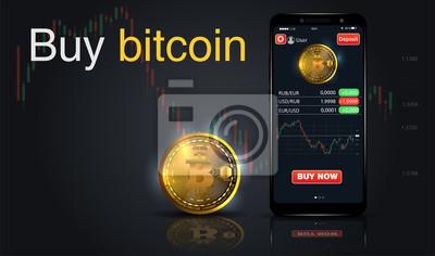 Kup bitcoiny. Internetowa koncepcja płatności kryptograficznych. Smartphone ze złotą monetą, zakup przycisku. Płać za kliknięcie według waluty wirtualnej. wektor dla biznesu, banerów internetowych, pr