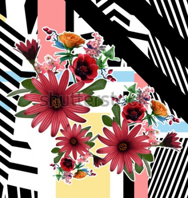Obraz kwiat i wzór geometryczny