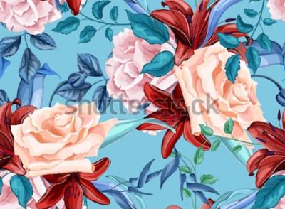 Obraz Kwiat wektor róża lilia kwiat bukiet bez szwu wzór kwiat liść gałąź Vintage akwarela ilustracja. Wiosna lato ślub romantyczny data małżeństwa tło, tło tkaniny tekstylne dekoracje