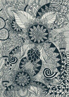 Obraz kwiatów tle z doddle koncepcji