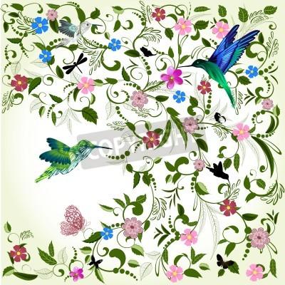 Obraz Kwiatów tle z ptakiem