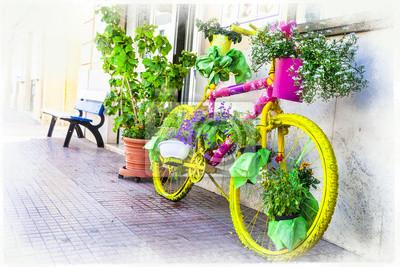kwiatowy rowerów - artystyczny kwiatowy wzór, ulica dekoracji