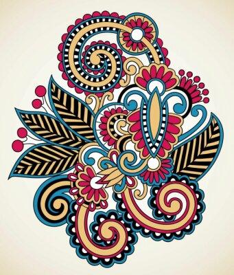 Obraz kwiatowy wzór tatuażu, ozdobne dekoracje