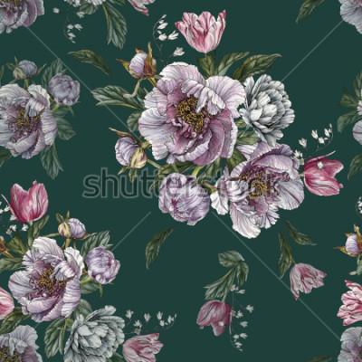 Obraz Kwiatowy wzór z akwarela piwonie i tulipany