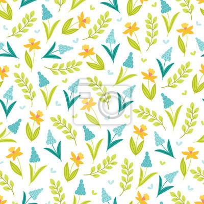 Kwiatowy wzór z Narcyza, gałęzi i liści