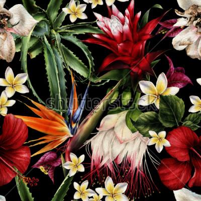 Obraz Kwiatowy wzór z tropikalnych kwiatów, akwarela.