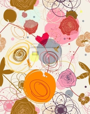 Kwiatu bez szwu deseń w stylu retro