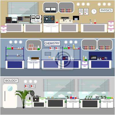 Laboratorium ilustracji wektorowych. Science Lab wnętrza. Biologia, Fizyka i Chemia koncepcja edukacji. Wyposażenie naukowe