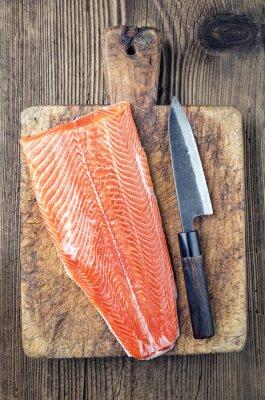 Obraz Lachfilet mit Japanischen Messer