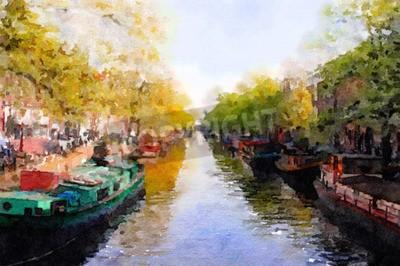 Obraz Ładna akwarela na kanał w Amsterdamie
