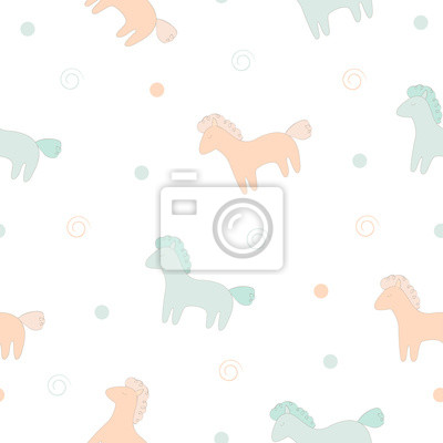 Ładny koni wektor druku