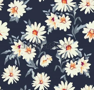 Obraz ładny stokrotka kwiatowy nadruk ~ bezszwowe tło