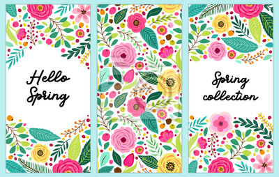 Obraz Ładny zestaw pionowych banerów Wiosna Kwiaty