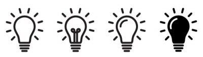 Obraz Lamp line icon set. Idea lamp icon collection. Flat style - stock vector.