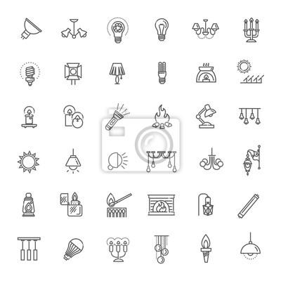 Obraz Lampa płaska Zestaw ikon