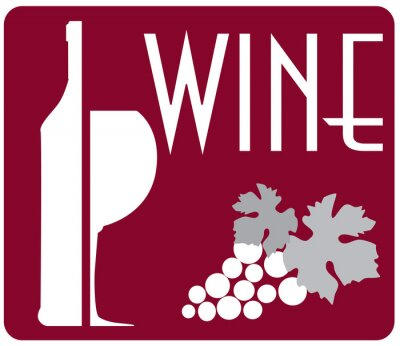 Obraz lampka wina i winogron butelka logo