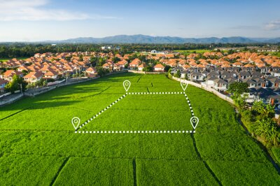 Obraz Land plot in aerial view. Identify registration symbol of vacant area for map. That property, real estate for business of home, house or residential i.e. construction, development, sale, rent, buy.