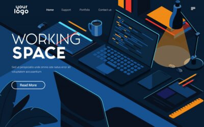 Obraz Landing page template of Working Space. Modern isometric design concept of web page design for website and mobile website. Easy to edit and customize. Vector illustration