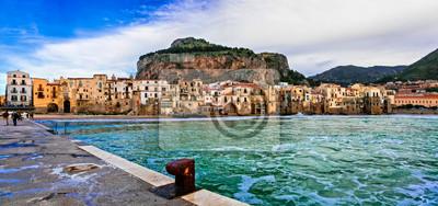 Landmarks of Sicily island - beautiful coastal Cefalu town. south of Italy