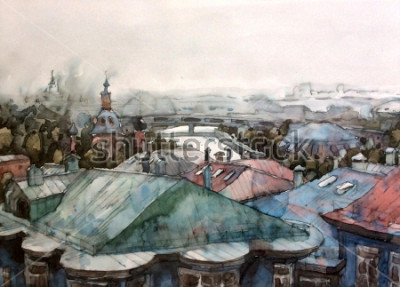 Obraz Landscape Moscow city roofs graphics watercolor