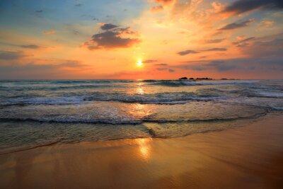 Obraz landscape with sea sunset on beach