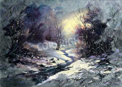 Obraz Landscape with winter wood small river