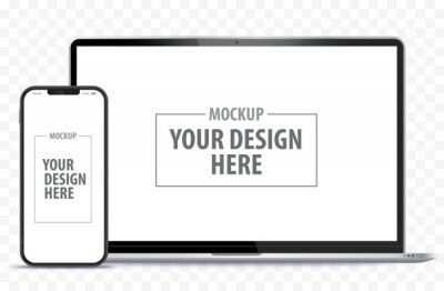 Obraz Laptop Computer and Mobile Phone Mockup. Digital devices screen template vector illustration with transparent background.