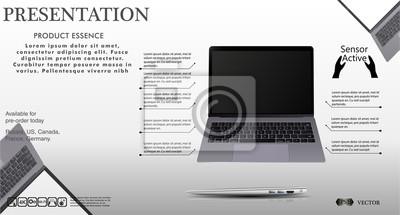 Laptop w stanie otwartym i zamkniętym. Prezentacja sprzętu. Ilustracja wektorowa Użyj do prezentacji szablonu lub Banner lub do druku.