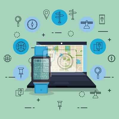 Obraz Laptop With Gps Navigation Software Vector