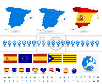 Large patriotic symbol set of Spain