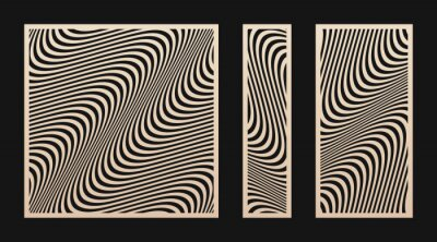 Obraz Laser cut panel set. Vector stencil with abstract geometric pattern, wavy lines, curves, stripes. Modern swatch for laser cutting of wood, metal, acrylic panel, engraving. Aspect ratio 1:1, 1:2, 1:4