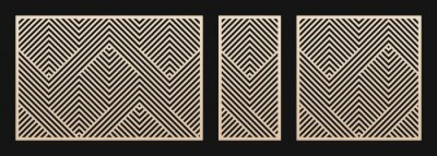 Obraz Laser cut panel set. Vector template with abstract geometric pattern, lines, stripes, chevron. Decorative stencil for laser cutting of wood, metal, plastic, decor element. Aspect ratio 3:2, 1:2, 1:1