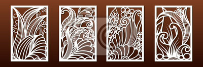 Obraz Laser cut panels, vector. Template or stencil for  metal cutting, wood carving, paper art, fretwork