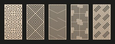 Obraz Laser cut patterns collection. Vector set with abstract geometric ornament, lines, stripes, grid, lattice. Decorative stencil for laser cutting of wood panel, metal, plastic, paper. Aspect ratio 1:2