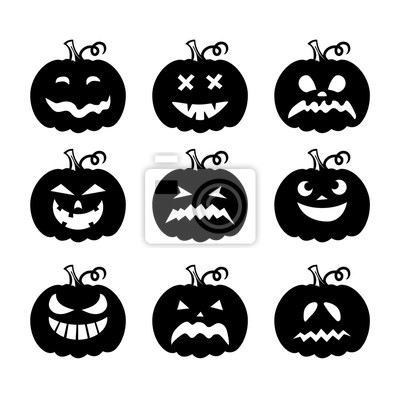 Obraz Laser cut set of a scary Halloween pumpkins. Collection of silhouette spooky images. Horror emoticons for paper cutting. Emoji art. Isolated vector illustration on white background. Black icons.