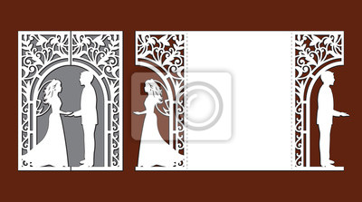Obraz Laser cut template of wedding invitation card with bride and groom. Gate fold with openwork vector silhouette. Envelope for greeting postcard with lace decor arch. Panel with decorative design pattern