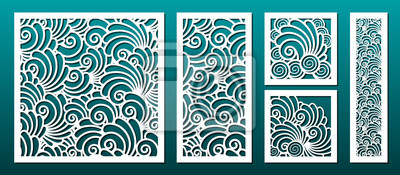 Obraz Laser cut template pattern, vector set. Metal cutting or wood carving, panel design, stencil for fretwork, paper art