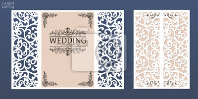 Obraz Laser cut wedding invitation card template vector. Die cut paper card with lace pattern. Cutout paper gate fold card for laser cutting or die cutting template.