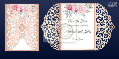 Obraz Laser cut wedding invitation card template vector. Die cut paper card with lace pattern. Cutout paper gate fold card for laser cutting or die cutting template. Wedding invitation with rose flowers.