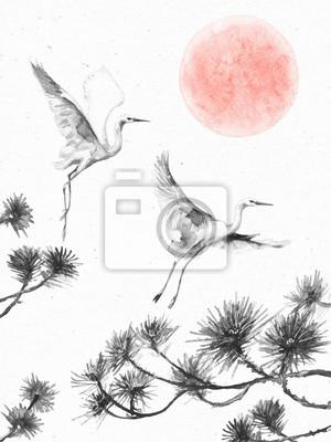 Latające bociany, gałęzie sosnowe i wschód słońca