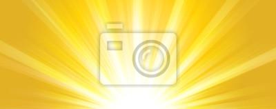 Obraz Lato streszczenie tło. Błyszczące gorące słońce światła poziome transparenty ilustracja z żółtymi i pomarańczowymi żywymi kolorami.